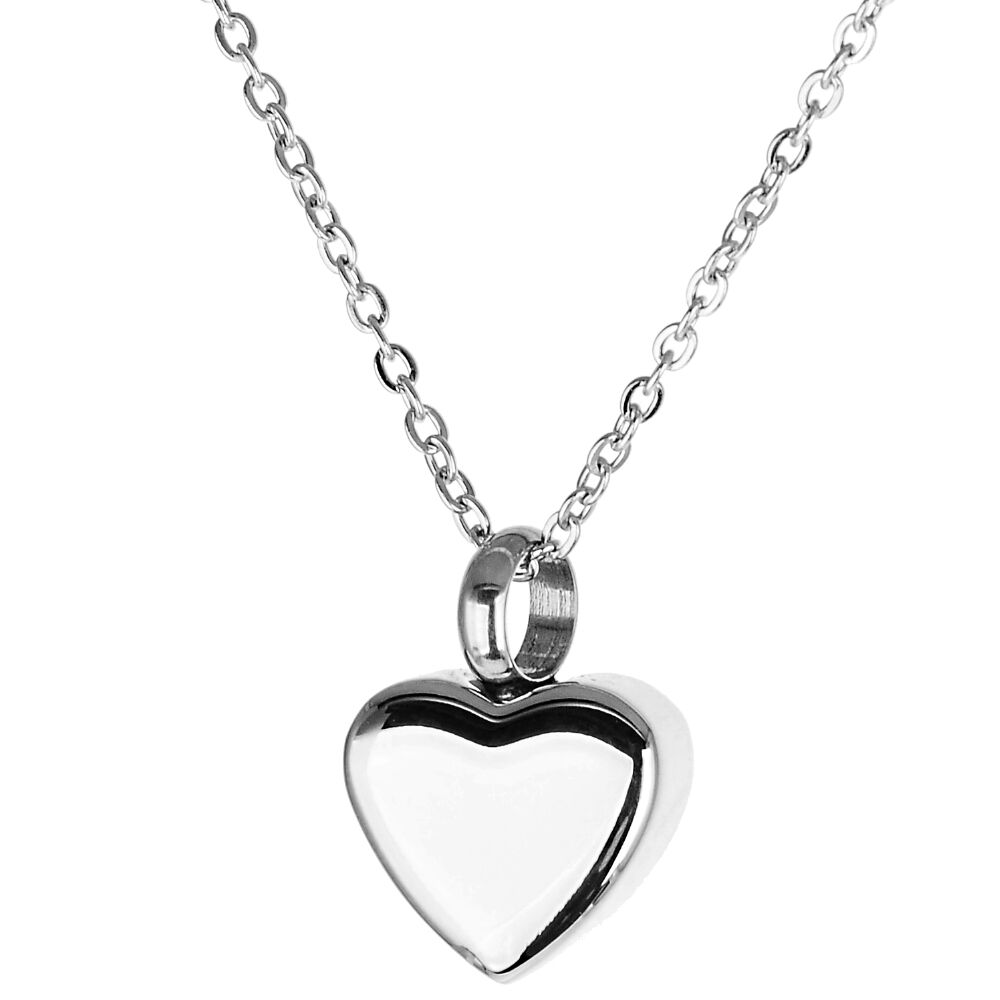 Asche Anhänger Andenken sehr kleines Herz Hochglanz poliert Gedenk Schmuck aus Edelstahl Gravur auf Wunsch AP 610 Silber