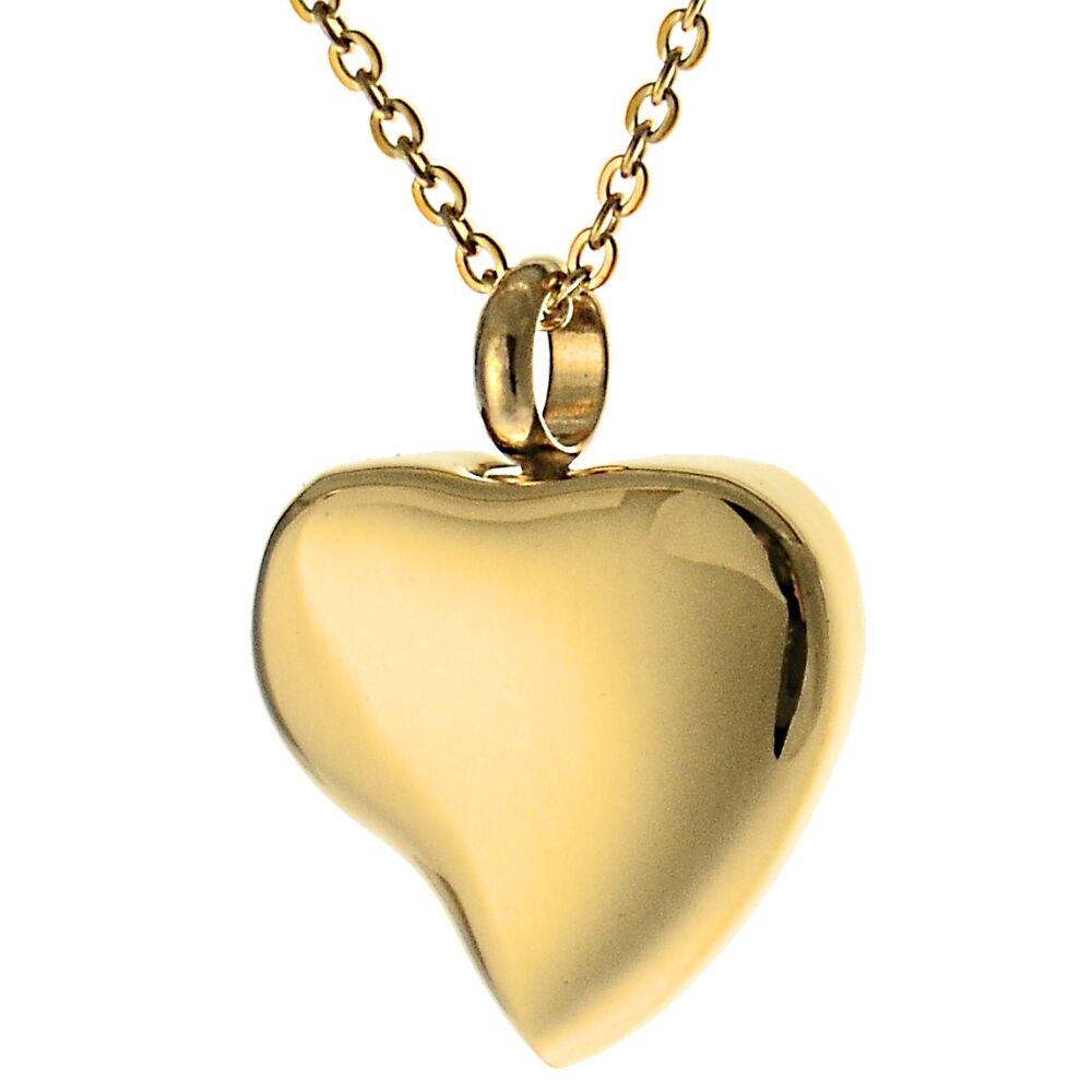 Andenken Anhänger Herz geschwungen aus Edelstahl Farbe Gold