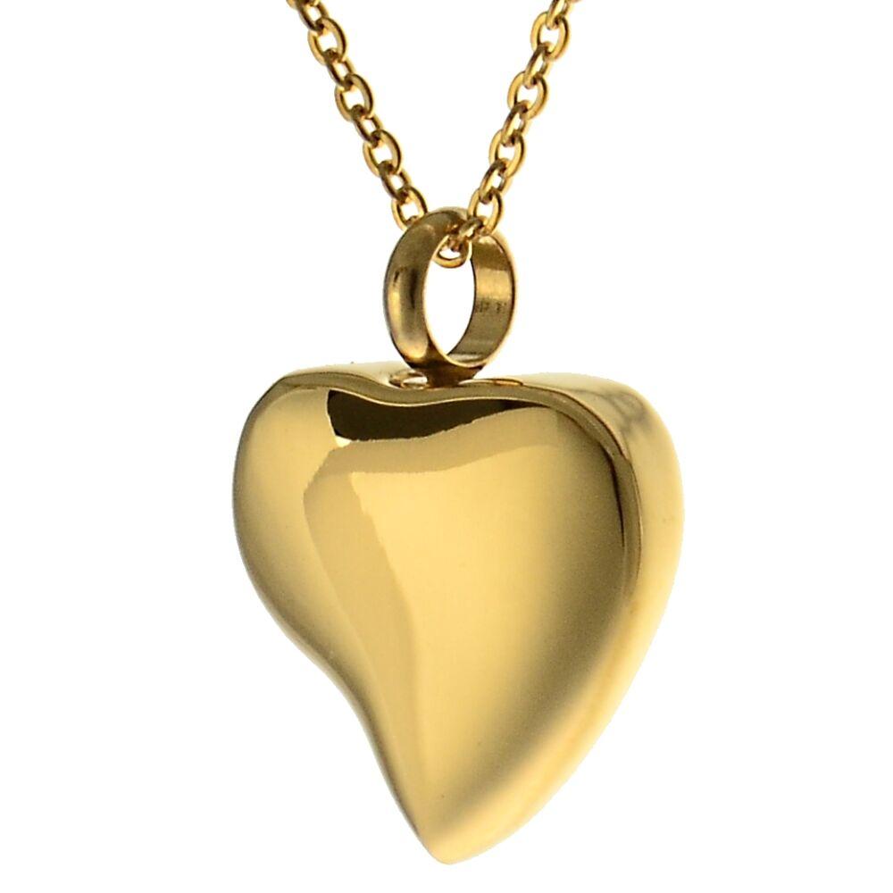 Asche Anhänger Andenken geschwungenes Herz in der Farbe Gold Gedenk Schmuck aus Edelstahl AP 45 G